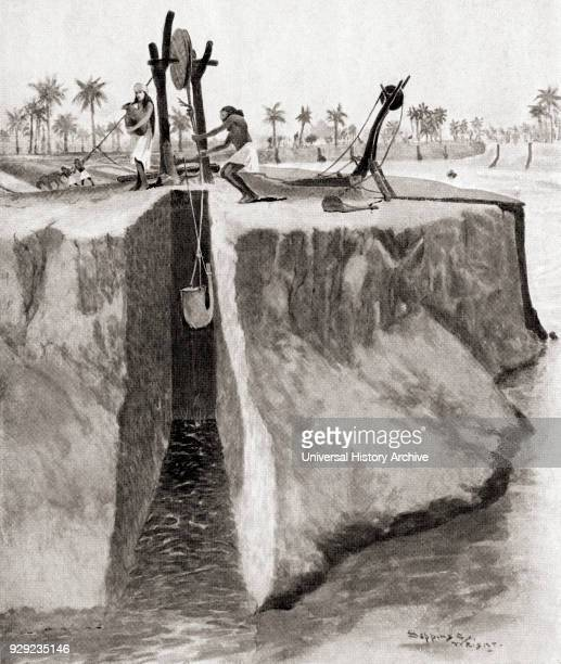 The Assyrian method of irrigation The water was raised up the high banks of the Tigris using a skin which ended in a funnel once at the top it was...