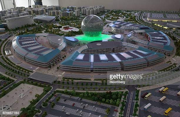 The Astana Expo 2017 Sphere sits in the center of a model inside the international exhibition office in Astana Kazakhstan on Wednesday Nov 23 2016...