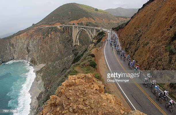 The Astana lead peloton crosses the Bixby Bridge on The Pacific Coast Highway during Stage 4 of the Amgen Tour of California on February 212008 from...