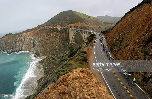 The Astana lead peloton crosses the Bixby Bridge on The Pacific Coast Highway during Stage 4 of the Amgen Tour of California on February 21,2008 from...