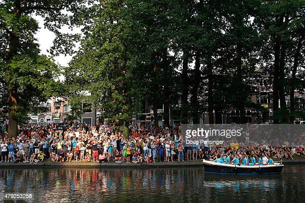 The Astana Pro Team arrives by canal boat with defending champion Vincenzo Nibali of Italy for the team presentation ahead of the 2015 Tour de France...