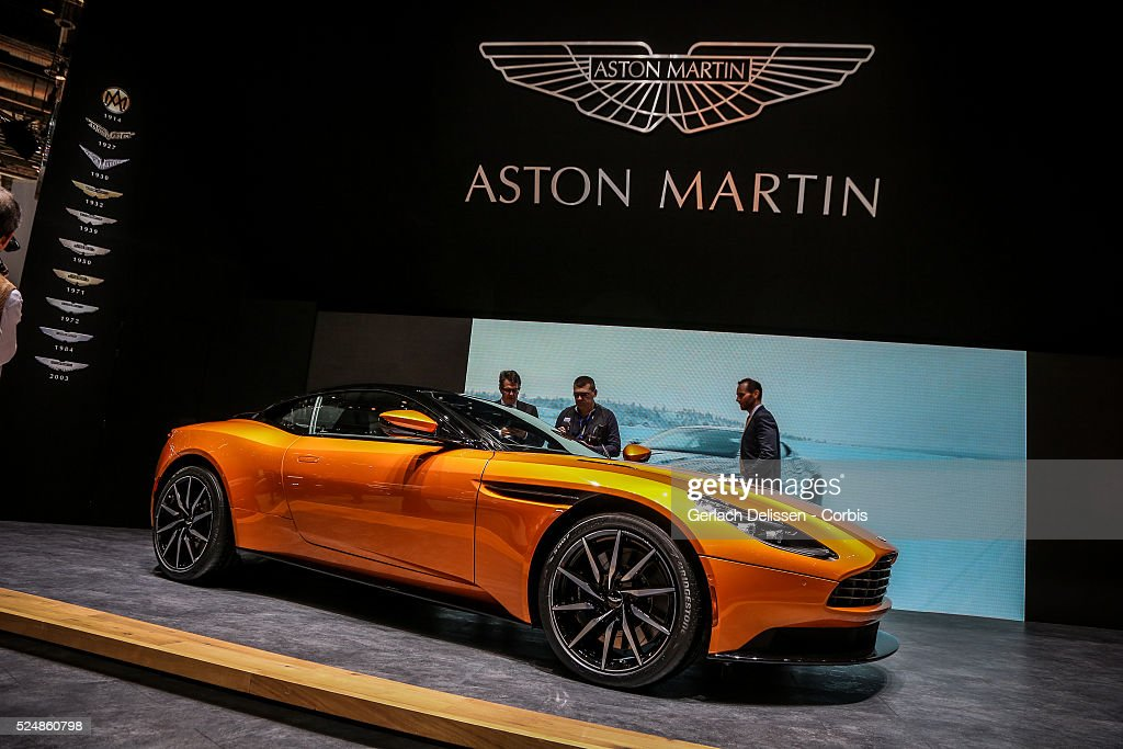 The Aston Martin DB11 on display at the 86th Geneva International Motorshow at Palexpo in Switzerland, March 2, 2016.