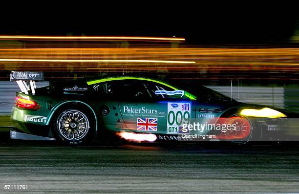 The Aston Martin DB9 driven by Jason Bright, Pedro Lamy and Stephane Sarrazin during practice for the American Le Mans Series 54th Annual Mobil 1 12...