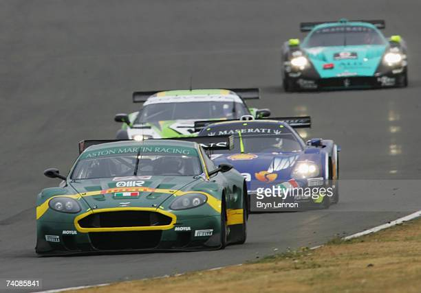 The Aston Martin DBR9 of Enrico Toccacelo and Ferdinando Monfardini is seen in action during the FIA GT Championship at Silverstone Circuit on May 6...