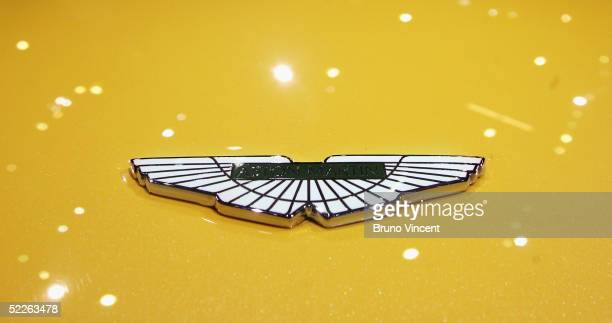 The Aston Martin emblem is seen on the new Aston Martin V8 Vantage as the car debuts at the 75th Geneva International Motorshow March 2 2005 in...