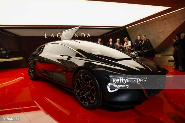The Aston Martin Lagonda automobile sits on display after its unveiling on the Aston Martin Lagonda Ltd stand on the opening day of the 88th Geneva...