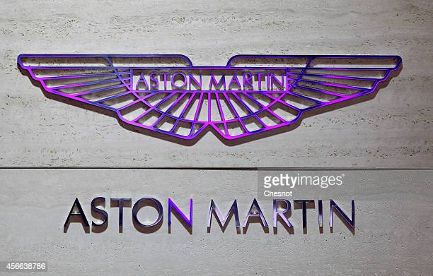 The Aston Martin logo is seen during the Paris Motor Show on October 04 in Paris France More than a million visitors are expected at the 'Mondial de...