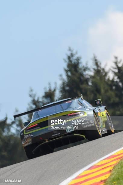 The Aston Martin Racing Aston Martin GT8 Vantage of Marco Sorensen / Nicki Thiim on track during the 6 Hours of Spa-Francorchamps race, the second...