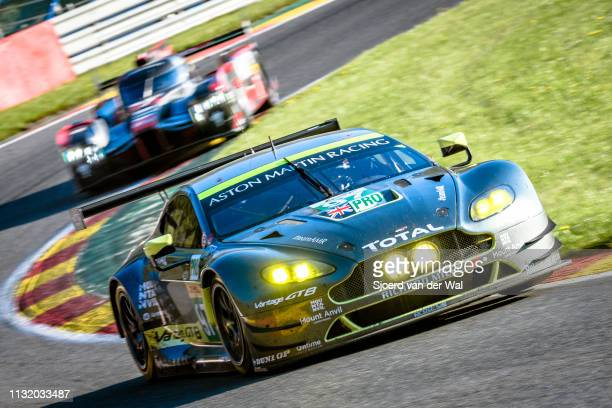 The Aston Martin Racing Aston Martin GT8 Vantage of Richie Stanaway, Fernando Rees and Jonathan Adam followed by one of the Audi R18 e-tron quattro...