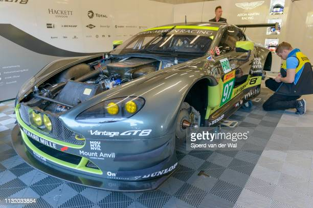 The Aston Martin Racing Aston Martin GT8 Vantage of Richie Stanaway Fernando Rees and Jonathan Adam in the pit box before the 6 Hours of...