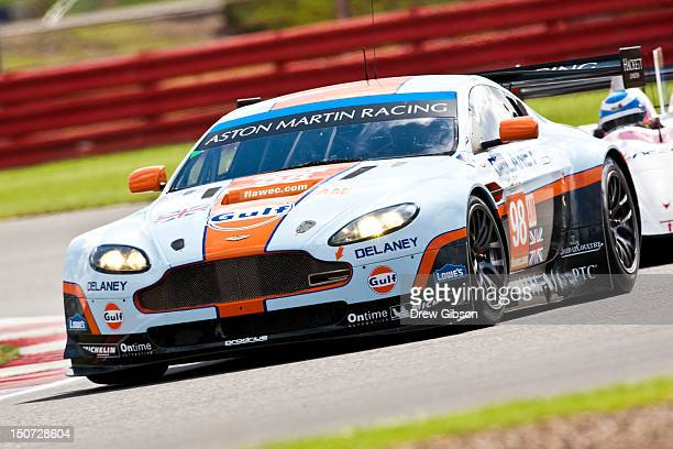The Aston Martin Racing Aston Martin Vantage V8 driven by Roald Goethe of Germany and Stuart Hall of Great Britain during the 2012 FIA World...