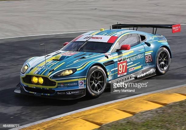 The Aston Martin Racing Aston Martin Vantage V8 driven by Stefan Mucke, Darren Turner, Pedro Lamy, Richie Stanaway and Paul Dalla Lana races during...