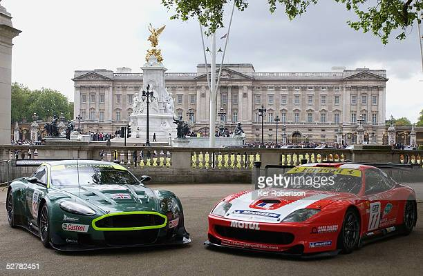 The Aston Martin Racing DBR9 and the Larbre Ferrari 550 Maranello seen at the F.I.A. GT Championship demonstration event in The Mall near Buckingham...