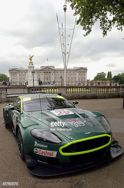The Aston Martin Racing DBR9 at the F.I.A. GT Championship demonstration event in The Mall near Buckingham Palace on May 10, 2005 in London, England.