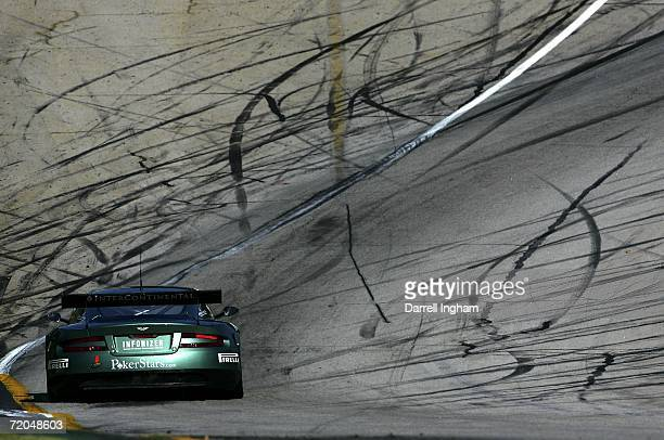 The Aston Martin Racing DBR9 driven by Pedro Lamy and Stephane Sarrzin during practice for the American Le Mans Series Petit Le Mans at Road Atlanta...