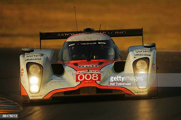 The Aston Martin Racing Lola of Jos Verstappen Darren Turner and Anthony Davidson drives during the 77th running of the Le Mans 24 Hour race at the...
