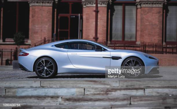 The Aston Martin Vanquish seen outside the St Pancras Renaissance Hotel in London England This is the second generation model with many styling...