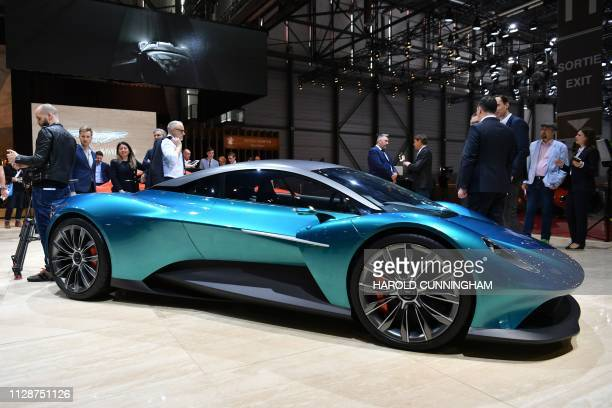 The Aston Martin Vanquish Vision Concept car is displayed on March 5 2019 during a press day ahead of the Geneva International Motor Show in Geneva...