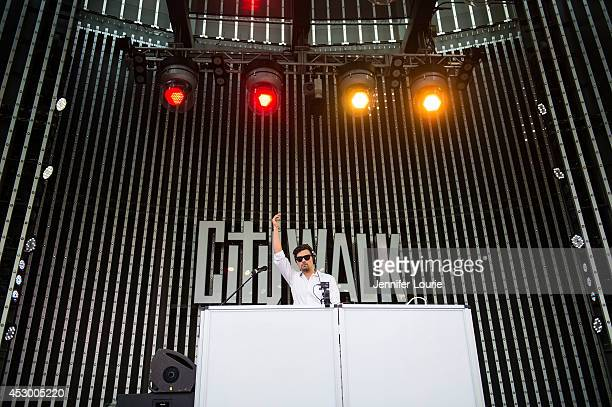 The Aston Shuffle performs at the Music Spotlight Series at Universal CityWalk's 5 Towers Stage at 5 Towers Outdoor Concert Arena on July 31 2014 in...
