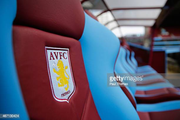 The Aston Villa emblem is seen on the dug out seats prior to the Barclays Premier League match between Aston Villa and Swansea City at Villa Park on...