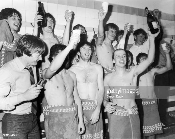 The Aston Villa team celebrate their victory in the League Championship in the dressing rooms at Highbury 5th May 1981 They won the title after...