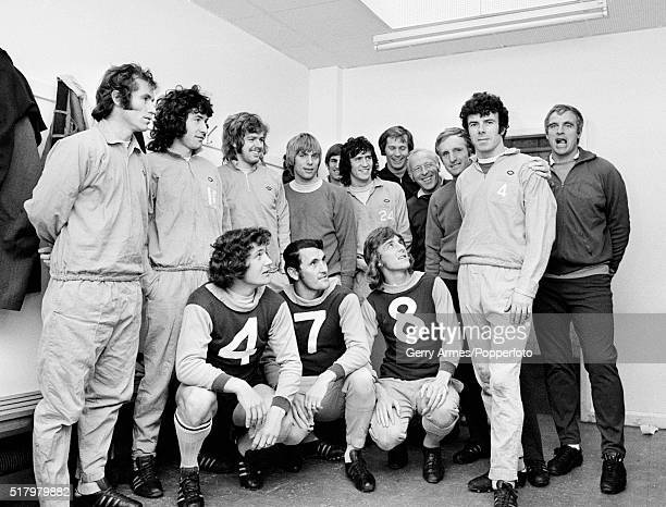 The Aston Villa team congratulate Charlie Aitken as he prepares to break the club's alltime appearance record previously held by Billy Walker 14th...