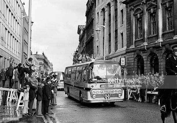 The Aston Villa team returning to Birmingham with the League Cup after their victory over Norwich City at Wembley Stadium in London 1st March 1975