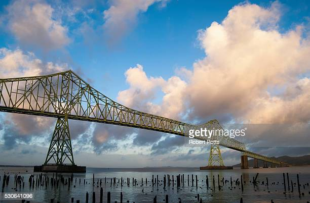 The Astoria-Megler Bridge, US Highway 101, spans the Columbia River at Astoria; Astoria, Oregon, United States of America