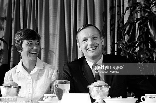 The astronaut Neil Armstrong with his wife Janet Shearon Apollo 11 moon landing program has required Armstrong Aldrin and Collins years of training...