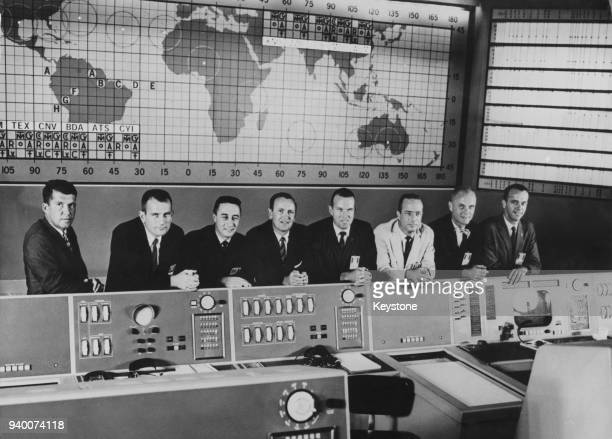 The astronauts of NASA's human spaceflight program Project Mercury at the Mercury Control Center at Cape Canaveral Florida 24th September 1960 From...
