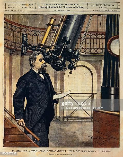 The astronomer Schiaparelli in the Brera observatory illustration by Achille Beltrame from La Domenica del Corriere October 28 1900
