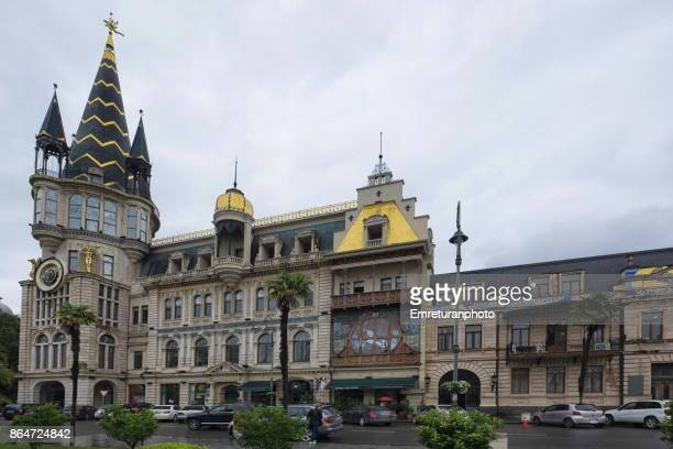 the astronomical clock of batumi on a rainy day. - emreturanphoto stock pictures, royalty-free photos & images