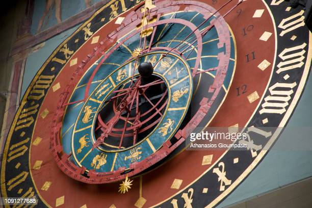 The astronomical dial at The Zytglogge clock tower at Kramgasse Street on January 01, 2019 in Bern, Switzerland. The Zytglogge lock tower is a...