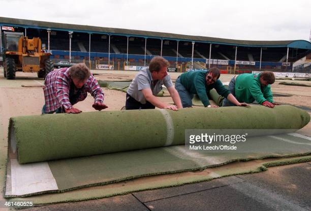 The Astroturf pitch at Deepdale is removed to be replaced by turf