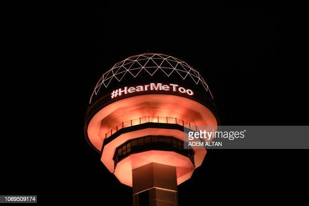 The Atakule monument is illuminated in orange as part of the 16 Days of Activism Against Gender Based Violence which is an international campaign to...