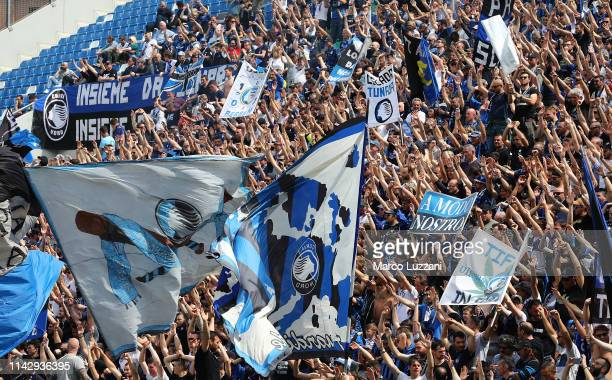 The Atalanta BC fans show their support before the Serie A match between Atalanta BC and Genoa CFC at Mapei Stadium Citta del Tricolore on May 11...