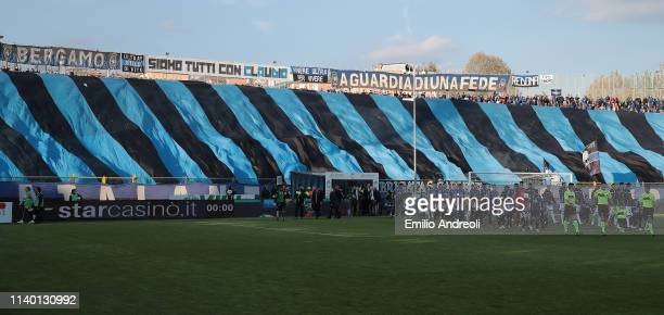 The Atalanta BC fans show their support during the Serie A match between Atalanta BC and Udinese at Stadio Atleti Azzurri d'Italia on April 29 2019...