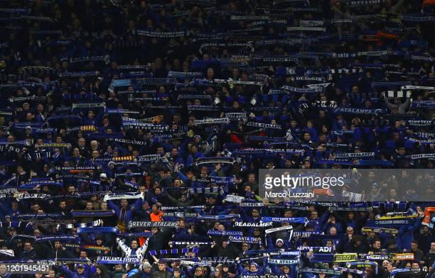 The Atalanta BC fans show their support during the UEFA Champions League round of 16 first leg match between Atalanta and Valencia CF at San Siro...