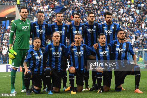 The Atalanta team pose for a photo before the UEFA Europa League group E match between Atalanta and Everton FC at Stadio Citta del Tricolore on...