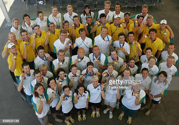 The Athens Olympics on 28 August 2004 The Australian gold medallists Front row Petria Thomas Suzanne Balough Chantelle Newbery Next row Stephen...