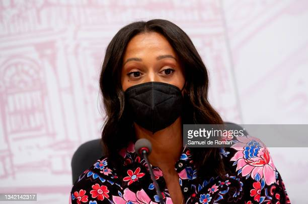 The athlete Ana Peleteiro speaks at the International Sport Forum press conference on September 23, 2021 in Leon, Spain.