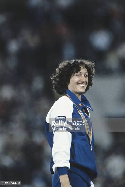 The athlete Italian Sara Simeoni smiling after winning the gold medal in the high jump's race at the Moscow Olympic games Moscow Russian Federation...