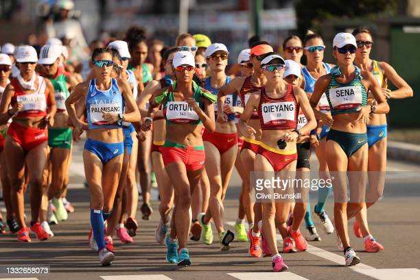 The athletes compete in the Women's 20km Race Walk on day fourteen of the Tokyo 2020 Olympic Games at Sapporo Odori Park on August 06, 2021 in...