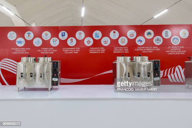 The Athletes Dining Hall is pictured at the Olympic Village on January 25, 2018 in Gangneung before the start of the 2018 Pyeongchang Winter Olympic...