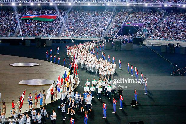 The athletes enter en masse and circle the stadium during the Closing Ceremony of the inaugural European Games at at Olympic Stadium on June 28 2015...