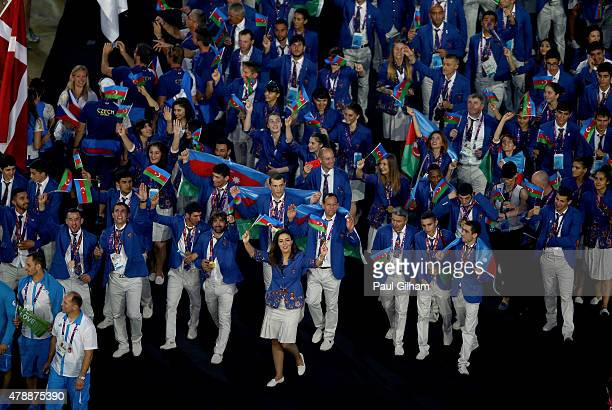 The Athletes of the Azerbaijan enter the stadium during the Closing Ceremony for the Baku 2015 European Games at Olympic Stadium on June 28 2015 in...