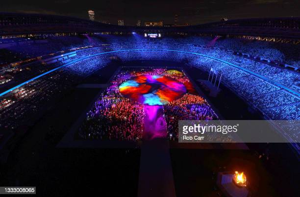 The Athletes of the competing nations enter the stadium during the Closing Ceremony of the Tokyo 2020 Olympic Games at Olympic Stadium on August 08,...
