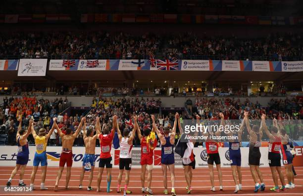 The athletes of the Men's Heptathlon applaud the fans following their final event on day three of the 2017 European Athletics Indoor Championships at...