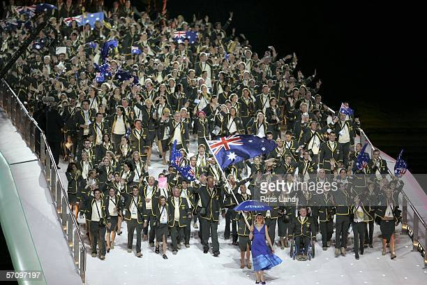 The athletes representing Australia enter the arena during the Opening Ceremony for the Melbourne 2006 Commonwealth Games at the Melbourne Cricket...