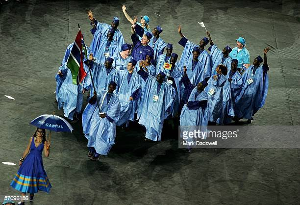 The athletes representing The Gambia enter the arena during the Opening Ceremony for the Melbourne 2006 Commonwealth Games at the Melbourne Cricket...